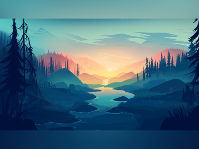 Forest (learn&copy from Mikael) cyan forest sunset illustration