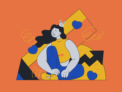 girl majored in science passion yellow orange blue illustration