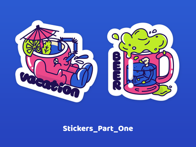 Stickers_P1 food green pink blue illustration