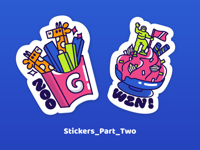 stickers_p2 pink vector blue illustration