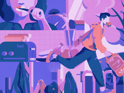 busy morning purple classical pink blue illustration
