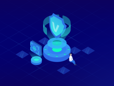 Secure innovation science technology secure business isometric blue 2.5d illustration