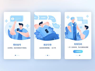 Medical ux ui launch medical hospital docter app character illustration
