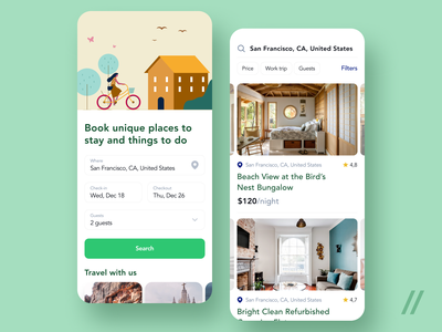 House Renting App For Travelers guests location search filters booking renting hotel travel purrweb figma app mobile design ux ui