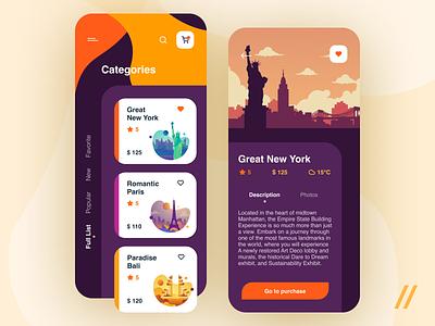 Travel App Design Concept recommended new york categories trip tourism travel illustration concept product mobile purrweb app figma design ux ui
