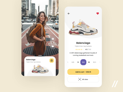 AR - Sneakers Store Concept augmentedreality shoes size promo nike sneakers concept product mobile purrweb app figma design ux ui