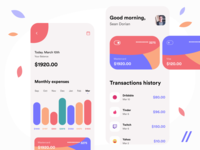 Banking App Design income twitch mastercard transaction expenses balance bank banking concept product mobile purrweb app figma design ux ui