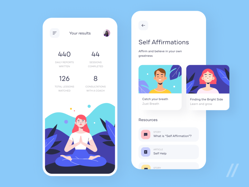 Meditation App Design Concept wellness health illustrations vector onboarding meditation concept product mobile purrweb app figma design ux ui