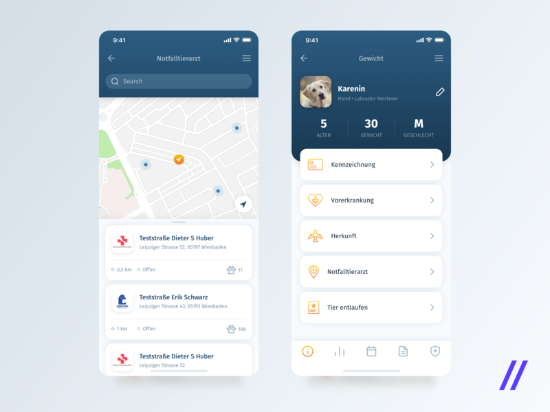 To-Do and Health Log App for Pet Owners figma german pet app veterinary schedule appointments task management health care ios design ux ui app mobile