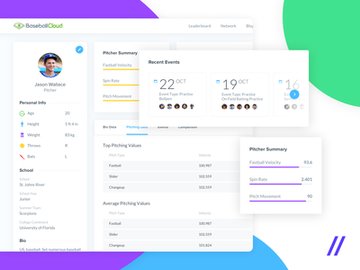 Dashboard Platform for Young Baseball Players figma web design ux ui statistics recruiters players platform interface design dashboad charts blog baseball analytics