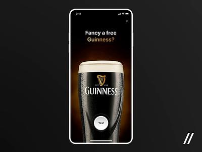 Guinness Beer Promotion Screens animation figma branding minimal logo dark theme pin timer motion interaction beer promotion promo guinness ios design app mobile ux ui