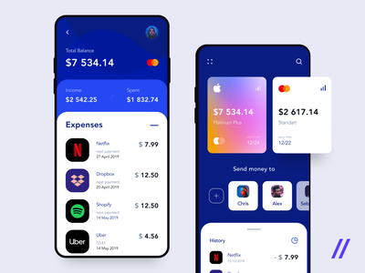 Mobile Banking & Finance App product freebie free apple pay netflix credit card payment income finance banking purrweb ios mobile app design ui ux figma