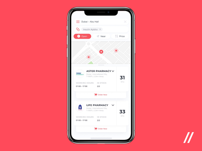 Pharmacy Finder App animation product near prescription medical pharmacy filter search map location purrweb ios design app mobile ux ui figma