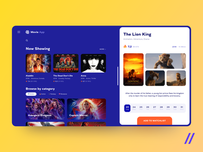 Movie App product purrweb film lion king rating feedback review movie web concept app design ui ux figma