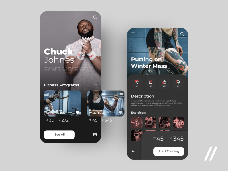 Personal Fitness Trainer App freebie free program wellness health workout beauty fitness product purrweb mobile app design ux ui figma