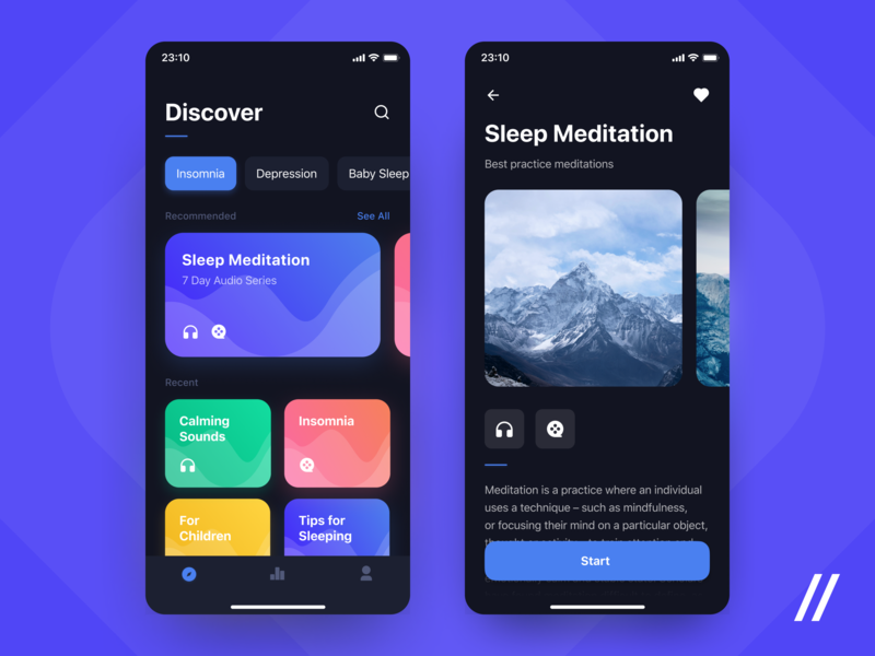 Sleep App dark ui patterns video audio courses meditation insomnia sleep product purrweb mobile app design ui ux figma