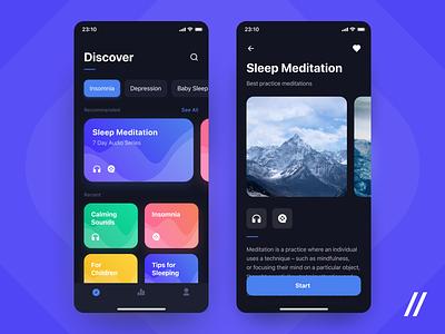 Sleep App dark ui patterns video audio courses meditation insomnia sleep product purrweb mobile app design ui ux figma
