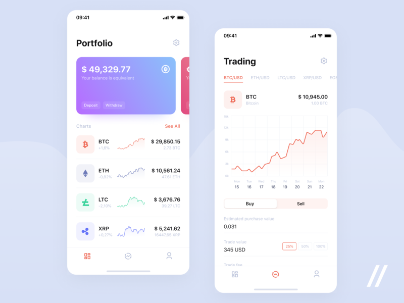 Cryptocurrency App trading etherium bitcoin graphic crypto wallet wallet cryptocurrency free product purrweb mobile app design ux ui figma