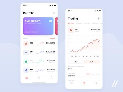 Cryptocurrency App trading etherium bitcoin graphic crypto wallet wallet cryptocurrency free product purrweb mobile app design ux ui figma