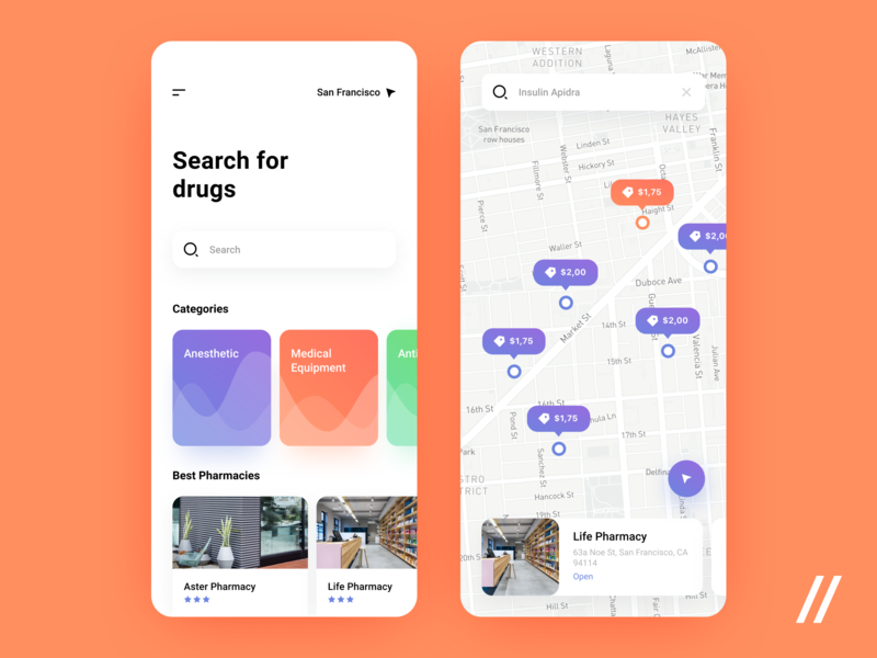 Pharmacy App Concept medicine map location search finder pharmacy product purrweb mobile app design ui ux figma