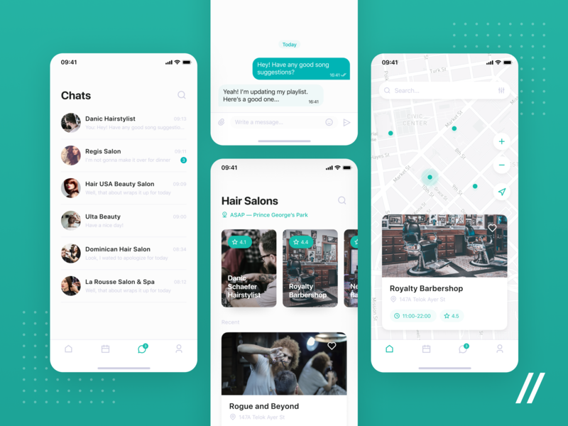 Appointments Scheduling App Design schedule appointment hair salon chat location map product ios purrweb mobile app design ux ui figma