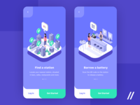 Charge on the Go Onboarding Screens isometry onboarding screen powerbank station onboarding illustration product purrweb mobile app design figma ux ui