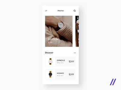 Wrist Watch App Concept clean ui modern hisako ecommerce wrist watch animation minimal product purrweb mobile app design ux ui figma