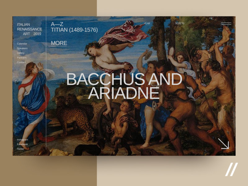 Bacchus and Ariadne italian interface web modern exhibition museum gallery art concept product purrweb design ux ui figma