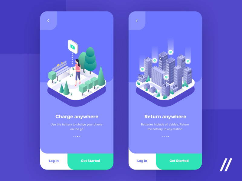 Onboaring Illustrations battery isometry illustraion character design powerbank charging map location product purrweb mobile app design ux ui figma