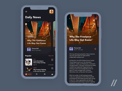 Online Publishing App clean dark ui article newsletter newsfeed product mobile app design ux ui figma