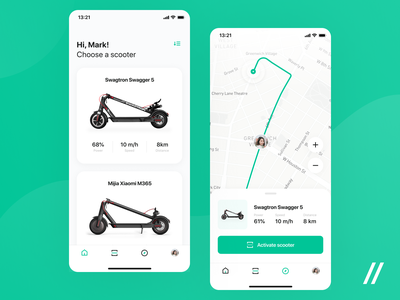 Electric Scooters & Bike Sharing App scooter map location product purrweb mobile app design ux ui figma