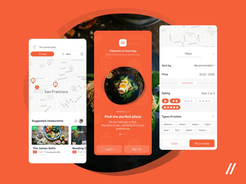 Food Recommendations App UI/UX result signup login splashscreen filters food map location product purrweb mobile app design ux ui figma