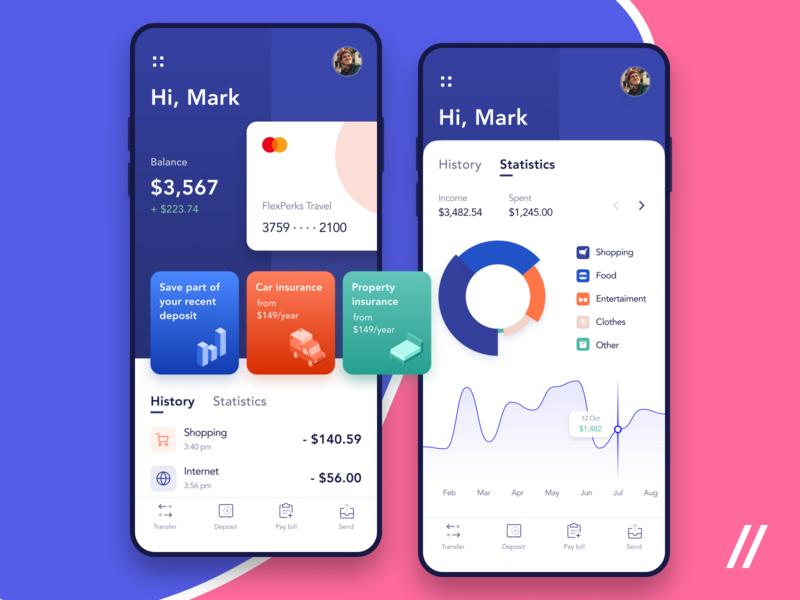Banking App Design Concept spend income insurance bills dashboard statistics history balance concept purrweb mobile app design ux ui figma