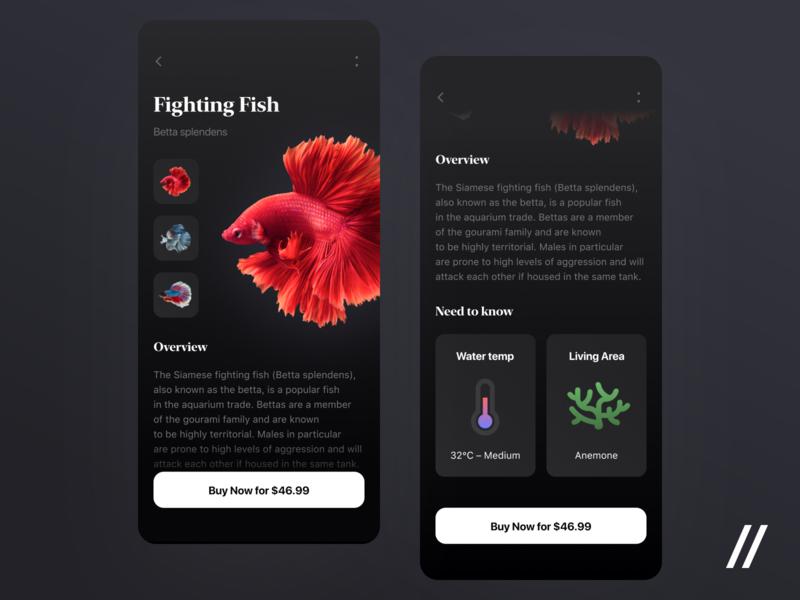 Fish Finder App overview buy now details description search fish concept product purrweb mobile app ui ux figma design
