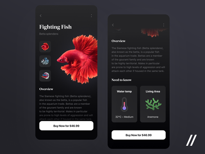 Fish Finder App overview buy now details description search fish concept product purrweb mobile app ui ux figma design