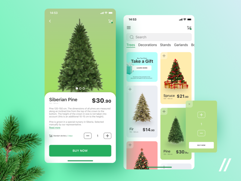 Christmas Tree Shopping App christmas tree tree ecommerce store online shop christmas concept product purrweb mobile app ux ui figma design