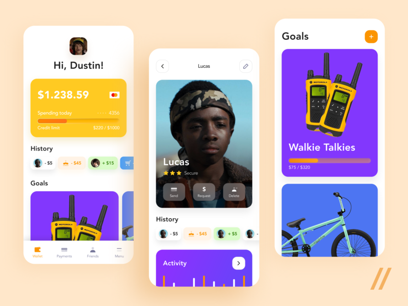 Banking App for Kids goals history card payments wallet kids savings deposit banking concept product purrweb mobile app ux ui figma design