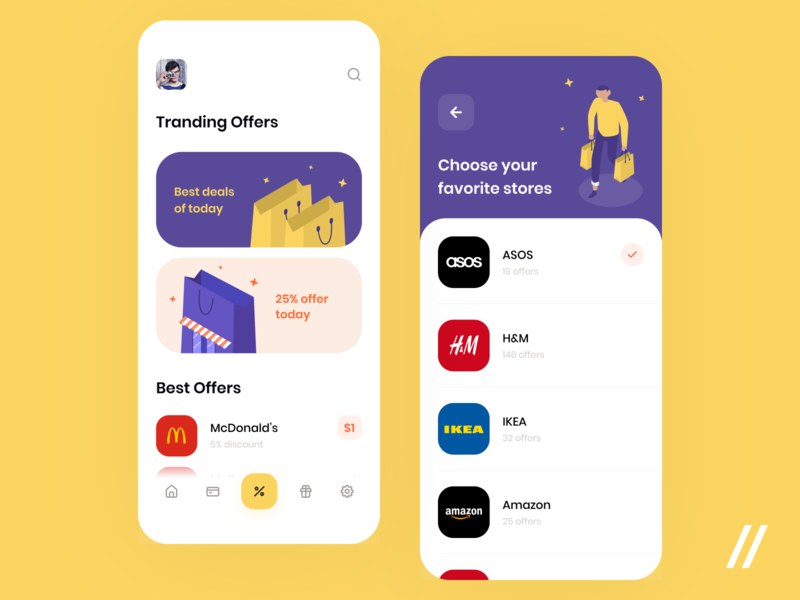 Discount App mcdonalds stores amazon ikea cashback tranding discount coupon offer minimal concept product purrweb mobile app ux ui figma design