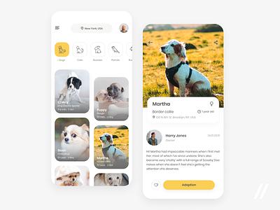 Pet Adoption App cat dog owner animals adoption pet product purrweb mobile app ui ux figma design