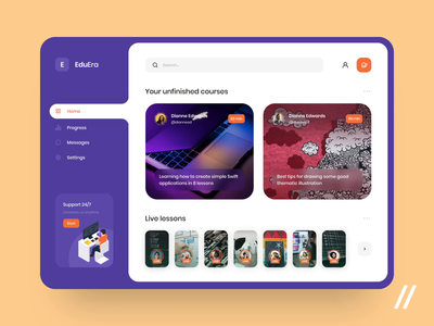 Online Learning Platform lessons courses education online learning progress message home dashboad website web animation concept product purrweb figma app ux ui design