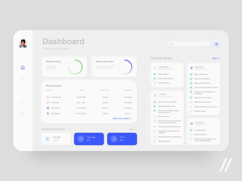 Project Management App weekly daily activity statistic tasks tool project managment clean minimal dashboard web concept product app ux ui figma design