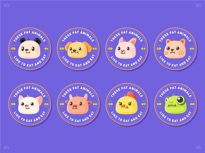 These fat animals—Part 3 illustration branding icon word font logo 标识 商标 color visual