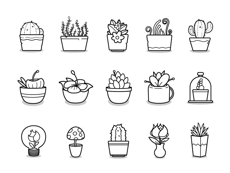 Plants grass mushroom bloom cactus line illustrator icon flower