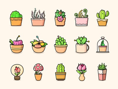 Plants-Color mushroom line illustrator icon grass flower cactus bloom
