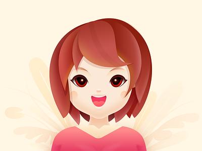 A little girl happy woman people human flower illustrator beautiful plant color visual illustration