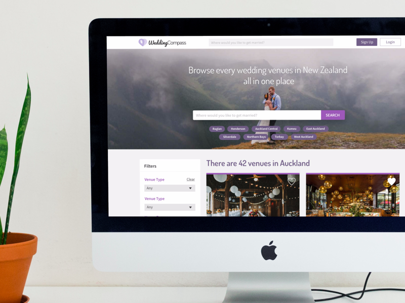 Wedding Compass - Find wedding venues around you.  startup responsive web auckland venue browse listing wedding