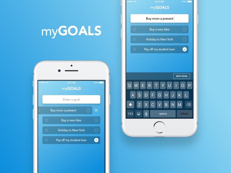 Goals App: 45 minute design challenge + Breakdown task ios app goals