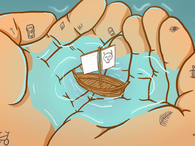 Saviour illustrator illustration water tattoos boat clean style colours hands cool art