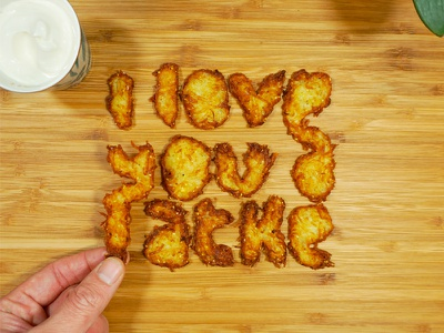 ♥️ You a Latke app store potato lettering foodtype food typography חנוכה hanukkah hannukah latke