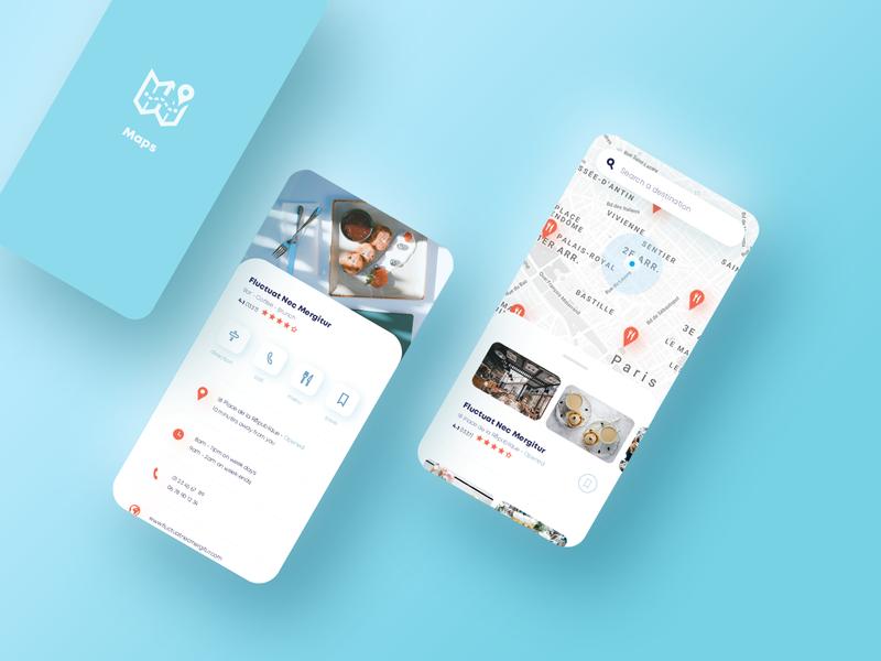 Map app maps dailyui uiux mobile app mobile restaurant food branding design minimalist minimal ux ui map app design app